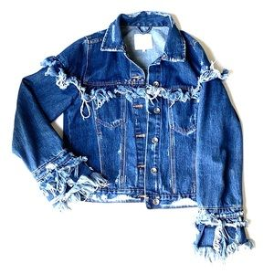 One of a Kind Distressed Denim Jacket
